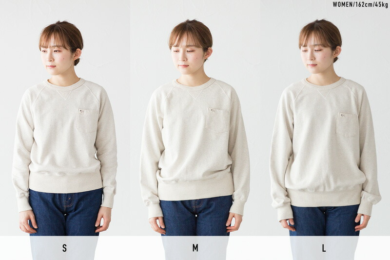 S、M、Lサイズを女性モデルが着用